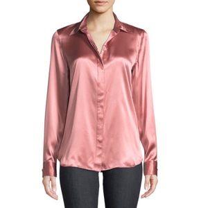 Lafayette 148 Blush Pink Silk button down blouse 8